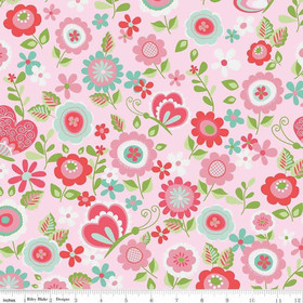 Flanellstoff Butterflies & Berries Main Pink