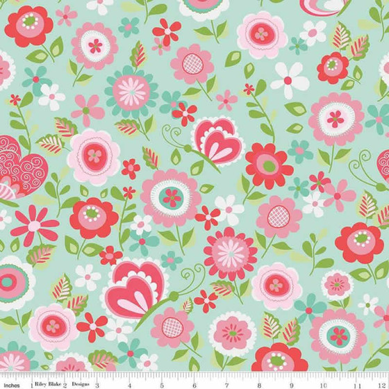 Flanellstoff Butterflies & Berries Main Mint