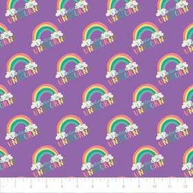 Baumwollstoff Patchworkstoff I believe in Unicorns Purple