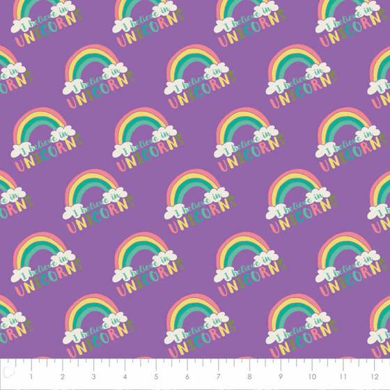 Flanellstoff Meterware I believe in Unicorns Purple